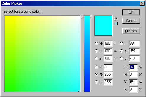 Values of r 0 g 255 and b 255 in the photoshop color picker